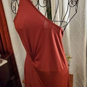 Sz 2xl womens silky,burgundy, ruffle hems + more